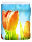 Beautiful Spring Tulips Background Duvet Cover by Michal Bednarek
