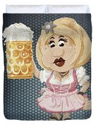 Beer Stein Dirndl Oktoberfest Cartoon Woman Grunge Color Duvet Cover by Frank Ramspott