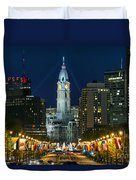 Ben Franklin Parkway And City Hall Duvet Cover by John Greim