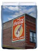 Bend Oregon Coke Sign Duvet Cover by Gary Grayson