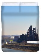 Bethlehem Steel and the Lehigh River Duvet Cover by Bill Cannon