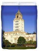 Beverly Hills Police Station Duvet Cover by Paul Velgos