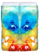 Big Blue Love - Visionary Art By Sharon Cummings Duvet Cover by Sharon Cummings