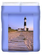 Big Sable Point Lighthouse Duvet Cover by Adam Romanowicz