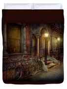 Bike - Ny - Greenwich Village - In The Village  Duvet Cover by Mike Savad
