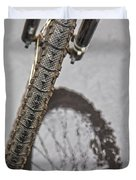 Biking In The Rain Duvet Cover by Karol  Livote