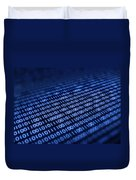 Binary code on pixellated screen Duvet Cover by Johan Swanepoel