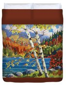 Birches By The Lake Duvet Cover by Richard T Pranke