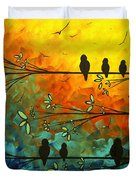 Birds of a Feather Original Whimsical painting Duvet Cover by Megan Duncanson