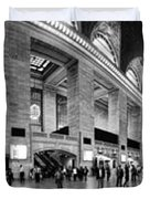 Black and White Pano of Grand Central Station - NYC Duvet Cover by David Smith
