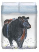 Black Cow Drawing Duvet Cover by Mike Jory