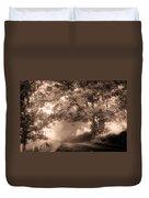 Black Dog On A Misty Road. Misty Roads Of Scotland Duvet Cover by Jenny Rainbow
