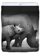 Black Rhinoceros Baby And Cow Duvet Cover by Johan Swanepoel