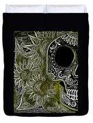 Black Sunflower Skull Duvet Cover by Lovejoy Creations