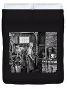 Blacksmith And Apprentice 2 Bw Duvet Cover by Steve Harrington