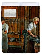 Blacksmith And Apprentice Impasto Duvet Cover by Steve Harrington