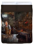 Blacksmith - Working The Forge  Duvet Cover by Mike Savad