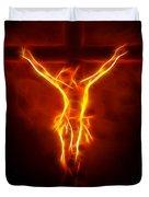 Blazing Jesus Crucifixion Duvet Cover by Pamela Johnson