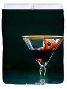 Bloody eyeball in martini glass Duvet Cover by Edward Fielding