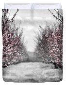Blooming peach orchard Duvet Cover by Elena Elisseeva