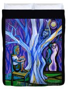 Blue And Purple Girl With Tree And Owl Duvet Cover by Genevieve Esson