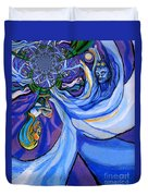 Blue And Purple Girl With Tree And Owl Upside Down Duvet Cover by Genevieve Esson