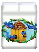 Blue Birds Fly Home Duvet Cover by Amy Vangsgard