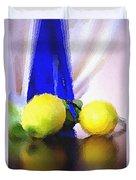 Blue Bottle And Lemons Duvet Cover by Ben and Raisa Gertsberg