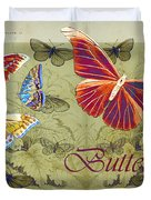 Blue Butterfly - Orange on Green - s02a Duvet Cover by Variance Collections