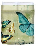 Blue Butterfly - s55c01 Duvet Cover by Variance Collections