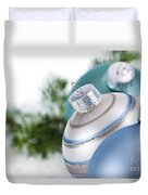 Blue Christmas Ornaments Duvet Cover by Elena Elisseeva