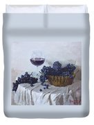 Blue Grapes And Wine Duvet Cover by Ylli Haruni