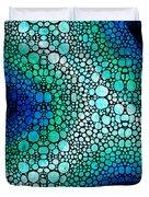 Blue Green Energy - Stone Rock'd Art Panting Duvet Cover by Sharon Cummings