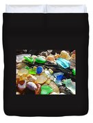 Blue Green Seaglass Art Prinst Agates Shells Duvet Cover by Baslee Troutman