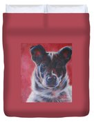 Blue Merle On Red Duvet Cover by Kimberly Santini