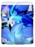 Blue Orchids Duvet Cover by Kathleen Struckle