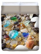 Blue Seaglass Art Prints Shells Agates Rocks Duvet Cover by Baslee Troutman