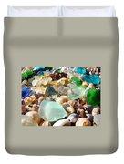 Blue Seaglass Beach Art Prints Shells Agates Duvet Cover by Baslee Troutman