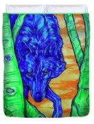 Blue Wolf Duvet Cover by Derrick Higgins