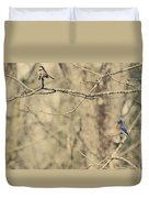 Bluebird And Sparrow Duvet Cover by Heather Applegate