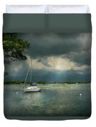 Boat - Canandaigua Ny - Tranquility Before The Storm Duvet Cover by Mike Savad