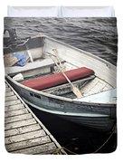 Boat in fog Duvet Cover by Elena Elisseeva