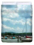 Boat - Sailboat At Dock Cold Springs Ny Duvet Cover by Susan Savad