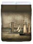 Boat - Sailing - Govenors Island Ny - Clipper City Duvet Cover by Mike Savad