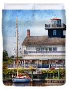 Boat - Tuckerton Seaport - Tuckerton Lighthouse Duvet Cover by Mike Savad