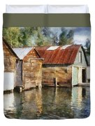 Boathouses On The Torch River Ll Duvet Cover by Michelle Calkins