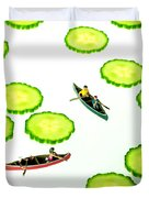 Boating Among Cucumber Slices Miniature Art Duvet Cover by Paul Ge