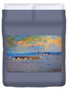 Boats In Piermont Harbor Ny Duvet Cover by Ylli Haruni
