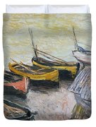Boats on the Beach Duvet Cover by Claude Monet
