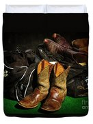 Boots And Bags Duvet Cover by Bob Hislop